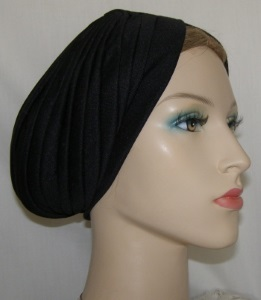 Black Quilted Turban Snood