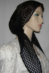 Black Crochet Look Pre Tied Snood
