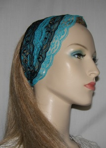 Black Gold Turquoise Lace Sari Headband