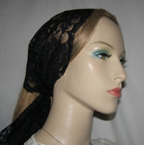 Black Lace Tie Headband