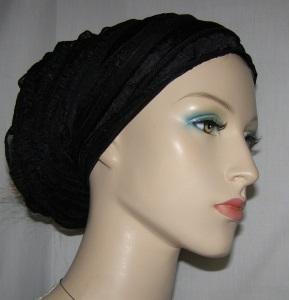 Black Ruffle Stretcy Head Wrap