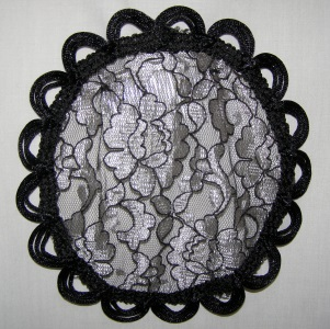 Black Silver Loop Venise Prayer Covering Kippah