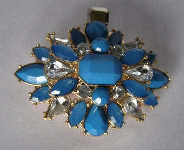 Blue Sunburst Jeweled Tichel Hair Clip