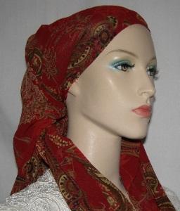 Cardinal Gold Paisley Sheer Mitpachat Tiechel Scarf Headcoverings