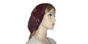 Devorah Violet Layered Mimkhatah Head Cover