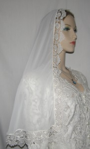 White Elbow Length Bridal Veil