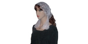 Rimon Trimmed White Lace Hair Wrap