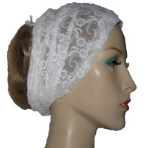White Stretch Lace Head Wrap