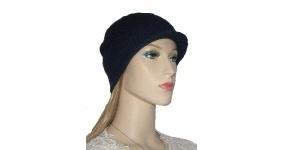 Knit Navy Brimmed Hat