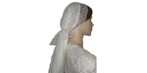 White Eyelet Scarf with Lace Ties
