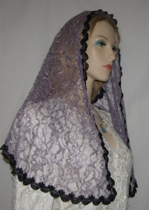 Lilac Floral Lace Hair Wrap Headcovering