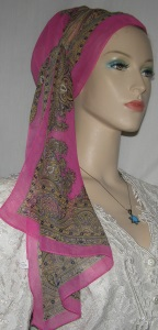 Pink and Tan Chiffon Mitpachat Tiechel Scarf Headcoverings