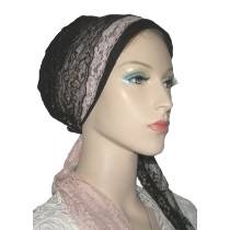 Mauve Black Gold Lace Ties Snood Wrap