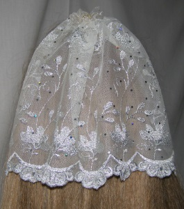 Ivory & Silver Embroidery Organza Bar Mitzvah / Bat Mitzvah Headcovering