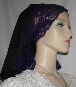 Black Purple Lace Shterntichel Scarf