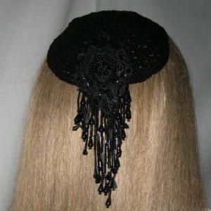 Black Cascading Pearl Beaded Kippah