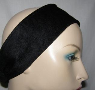 Black Velvet Suede headband tichel grip