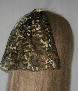 Gold & Black Floral Lace Bar Mitzvah Covering / Bat Mitzvah Headcovering