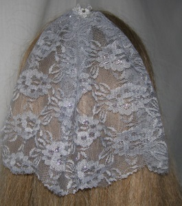 Gray Silver Floral Lace Bar Mitzvah / Bat Mitzvah Headcovering