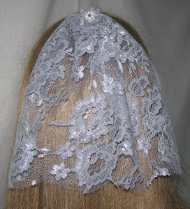 Gray & Silver threaded lace Bar Mitzvah / Bat Mitzvah Headcovering