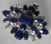 Navy Sunburst Design Beaded Tichel Clip