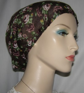 Taupe Green Mauve Cotton Print Snoods