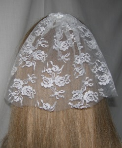 White Chantilly lace Bar Mitzvah / Bat Mitzvah Headcovering