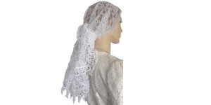 White Scalloped Veil with White Israeli Venise Trim