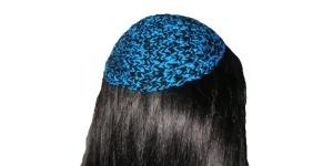 Turquoise & Black Cotton Kippah