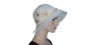 White Tan Flower Bucket Hat