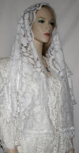 White Cotton Floral Venise Trim Headwrap Veil