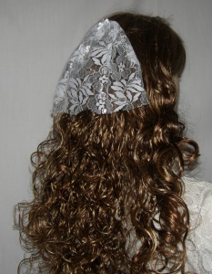 White Silver Lace Head Covering