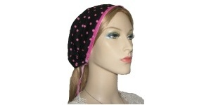 Yeled Black Pink Polka Dot Bandana