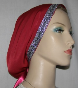 Burgundy Peach Skin Snood Silver & Black Mid East Jacquard Band
