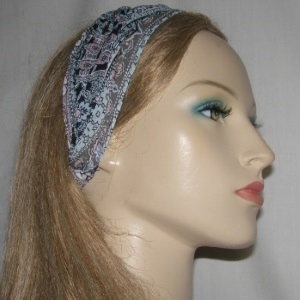 Aqua  Mauve Design Silk Headband