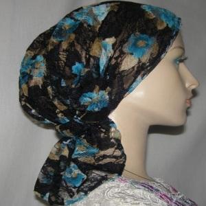 Black Aqua Camel Floral Headband Scarf