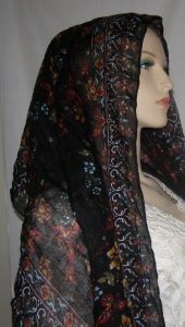 Black Aqua Copper Design Hair Wrap Mitpachat Scarf Headcoverings