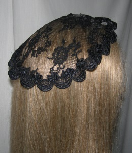 Black Venise Trimmed Doily Mapit Headcovering