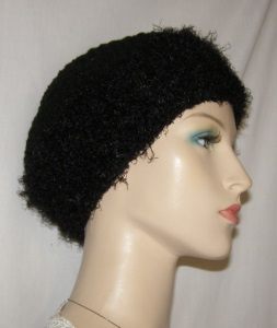 Black Chenille & Crochet Brimmed Hat