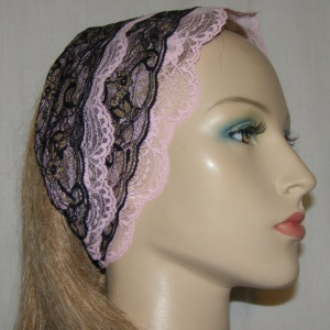Black Gold Pink Lace Sari Design Headband