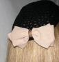 Crochet Kippah Beige Silk Bow