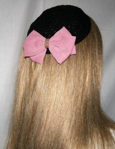Black Crochet Kippah with pink Silk Bow