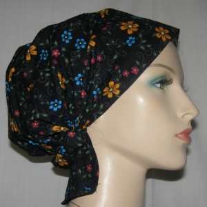 Black Multi Floral Headband Scarf