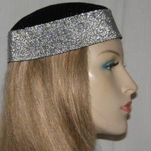 Black Silver Stretch Band Buchari Kippah