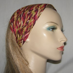 Cranberry Olive Stripe African Design Headband