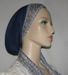 Blue Denim Snood with Aqua Ties