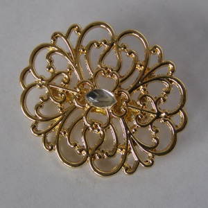 Gold Filigree Crystal Beaded Tichel Pin
