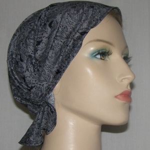 Gray with Black Floral Headband Scarf