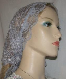 Gray Scalloped Mimkhatah Kerchief Headcovering