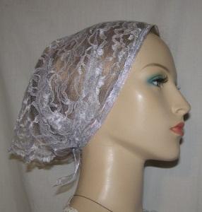 Gray Floral Lace Mimkhatah Kerchief